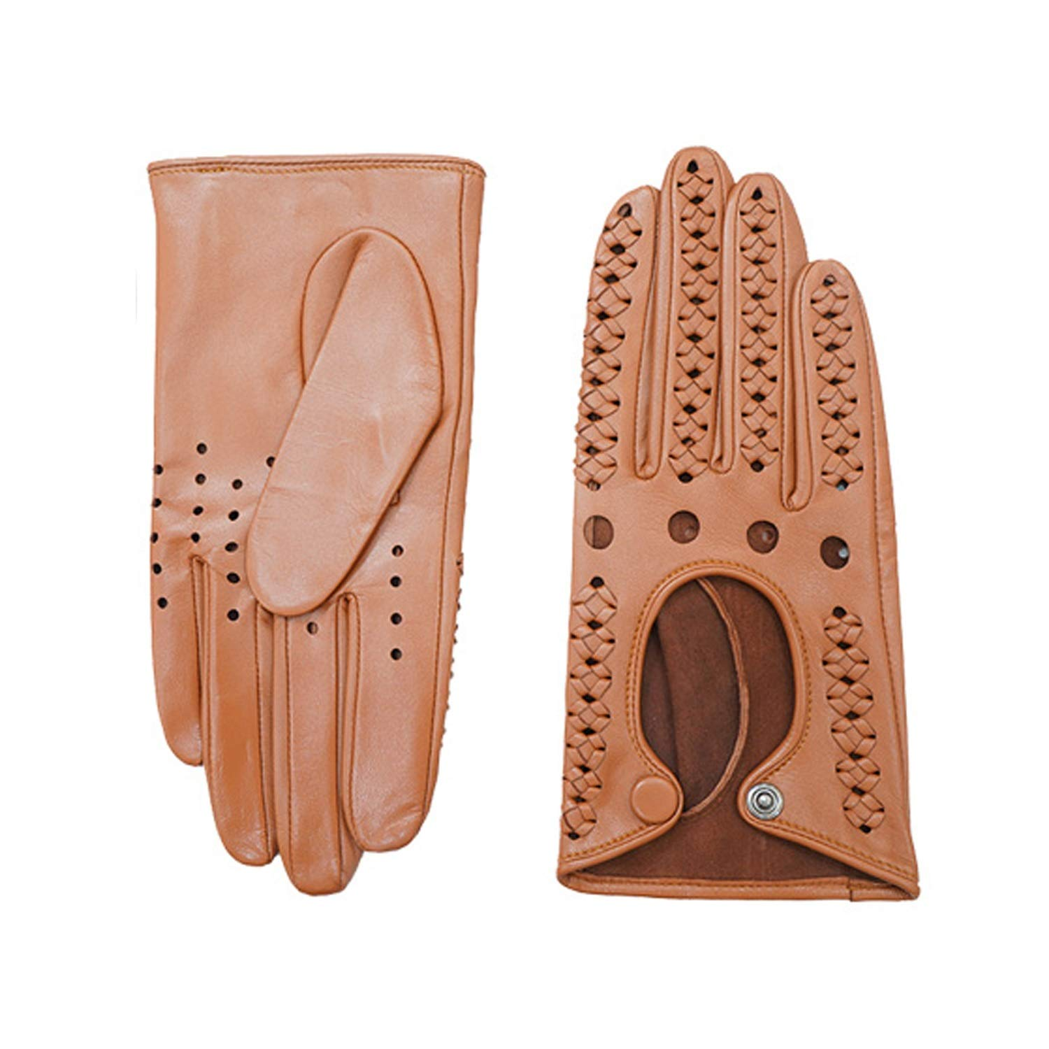 Genuine Leather Full-finger Driving Gloves Motorcycle Driving Cycling Gloves,1 pair Various style gloves (Color : Brown)
