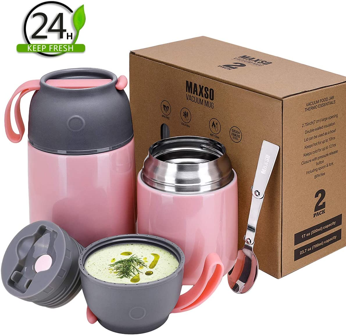 2 Pack Vacuum Insulated Food Jar Hot Food Containers for Lunch School Soup Thermos For Kids,Travel Food Flask Hot Cold (24oz,17oz)(Pink)