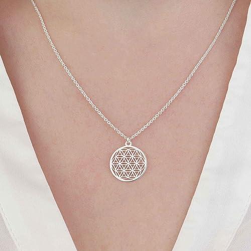 Lebensblume Kettenanhänger Echt 925 Silber Amulett Blume des Lebens Anhänger