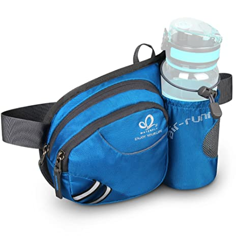 WATERFLY Waist Bag with Water Bottle Holder Hiking Fanny Pack Jogging  Traveling Cycling Dog Walking Sports Waist Pouch (Blue) d798309cc3eb5