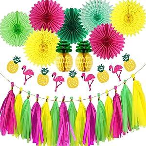 Hawaiian Party Decoration Kit Flamingo Birthday Party Decoration Paper Fans Tissue Paper Pineapple Honeycombs Tropical Party Flamingos and Pineapples Banners Tassel Garlands Decorations Supplies Kit for Birthday, Bridal & Baby Shower Themed Moana Luau Hawaiian Beach Pool Summer