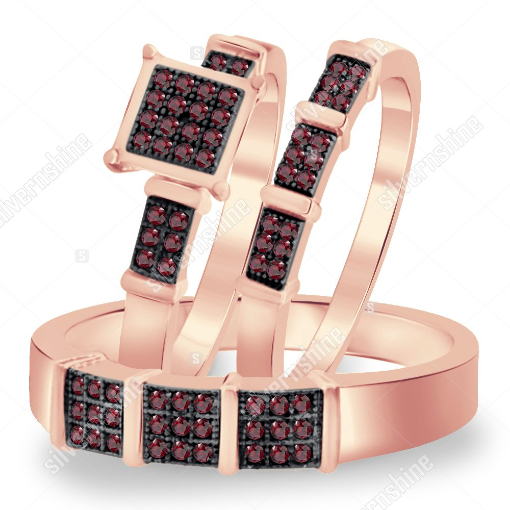 Silvernshine Jewels His And Her Trio Rings Set Rose Gold Plated 1.6ct Sim Red Garnet Diamonds Square Top