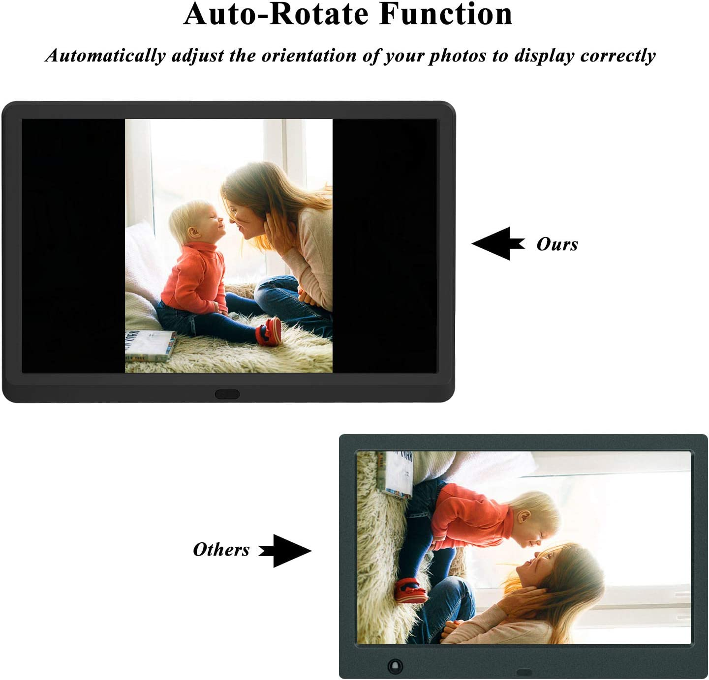 Breakpoint Play,Adjustable Brightness,Auto-Rotate,Remote control Digital Picture Frame Support 1080P Video 1920x1080 IPS Screen Music Photo Atatat 11.6 Inch Digital Photo Frame with Motion Sensor