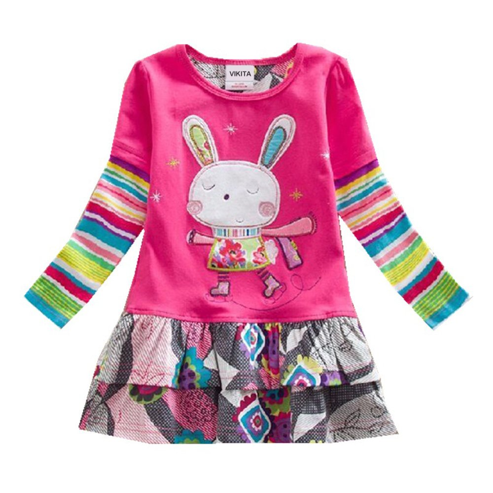 VIKITA 2017 New Girls Embroidery Cotton Long Sleeve Flower Dresses Q91101 Pink 4-5 Years