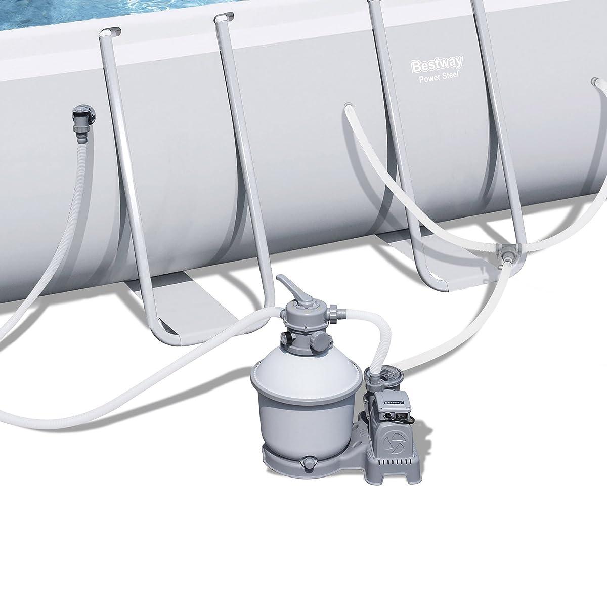 "Bestway 18x9x48"" Rectangular Frame Above Ground Pool Set with Ladder & Pump"