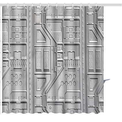Amazon MuaToo Shower Curtain Abstract Geometric Pattern Sci Fi