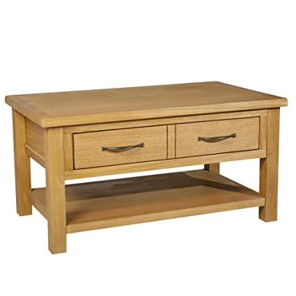 Oak Coffee Table.Homcom Solid Oak Frame Rectangle Coffee Table With Drawer And Lower Storage Shelf