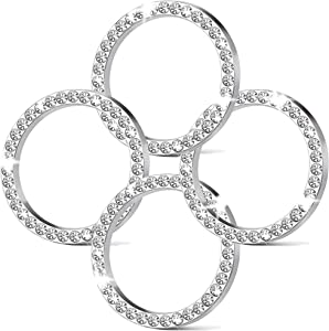 4Pcs Crystal Rhinestone Ring for Car Decor, Car Volume and Tune Knobs Ring Emblem Sticker,Auto Engine Start Stop Decoration Crystal Interior Ring Decal for Vehicle Ignition Button-Silvery