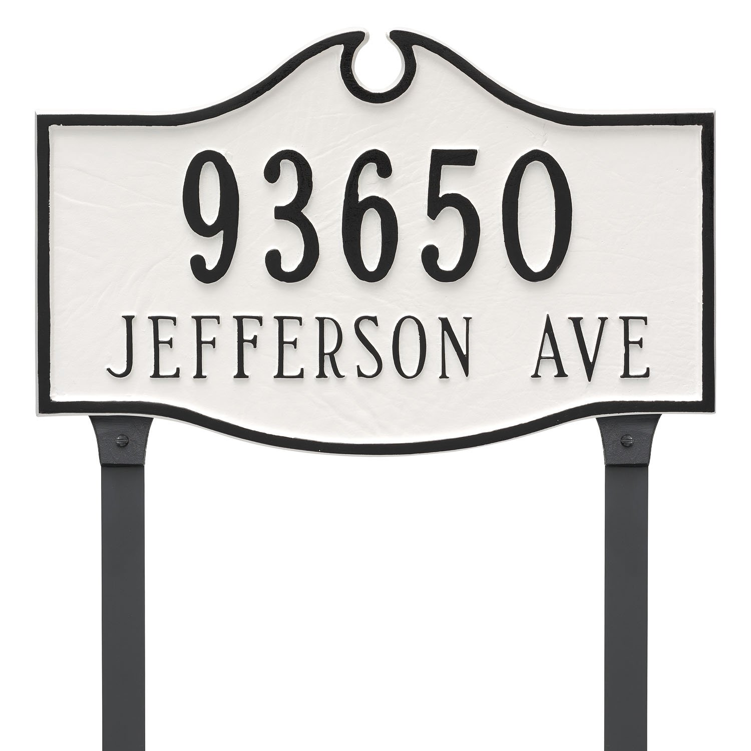 Montague Metal PCS-0052E2-L-WB Colonial Estate Two Line Address Sign Plaque with Lawn Stake, 16'' x 26.5'', White/Black