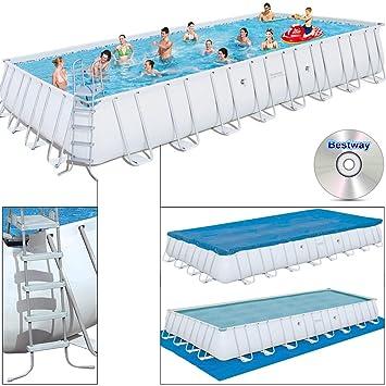 Super Bestway Swimming Pool ~ 10m mit Stahlrahmen 956x448x132: Amazon.de  ED24