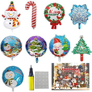 9pcsset different christmas foil mylar helium aluminum film balloons with inflatable tool and beautiful - Different Christmas Decorations
