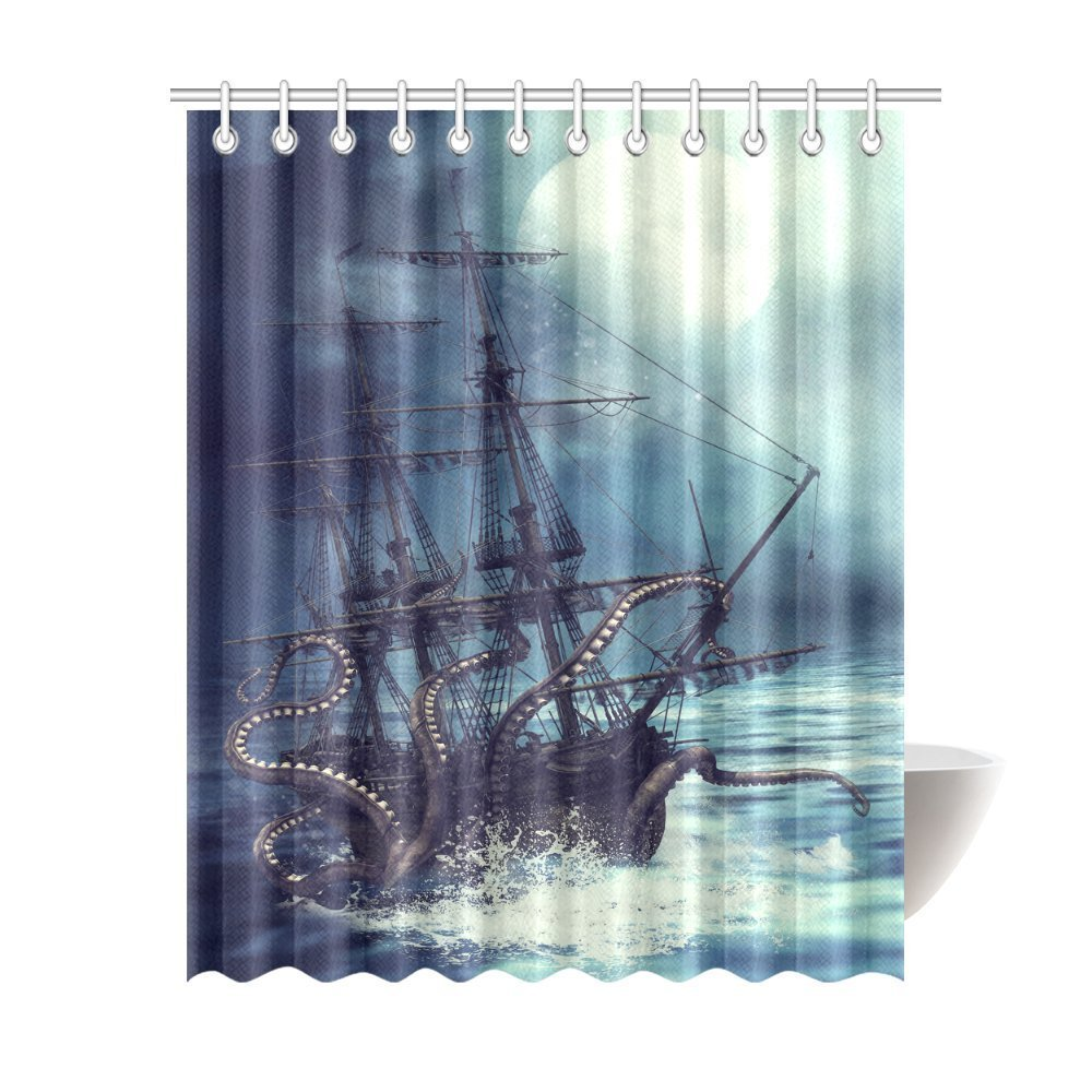 Amazon.com: InterestPrint Pirate Ship Octopus Design Polyester ...