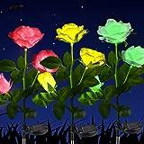 Solar Powered Garden Decorations Lights, 3 Pack LED Rose Flower Garden Decorative Stake Lights for Garden, Courtyard, Backyar