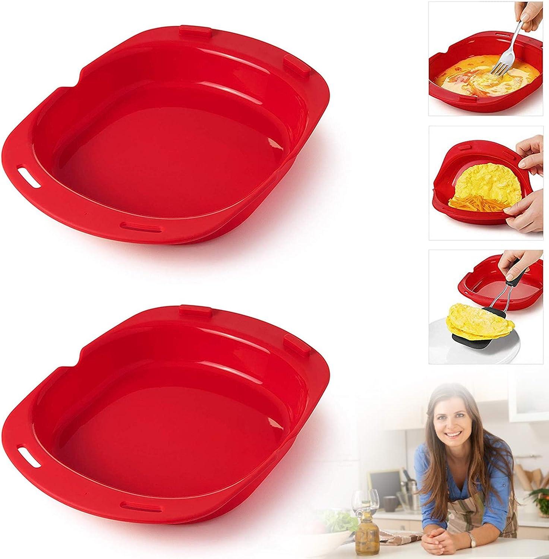 2 PCS Silicone Omelette Maker Microwave Oven Non Stick Omelette Maker Egg Roll Baking Plate Pan Omelette Maker Vegetable Steamer Tools Red (2 pcs)