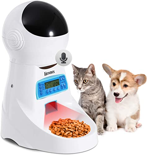 Xuliyme Automatic Cat Feeder Auto Timed Pet Food Dispenser Feeder with LCD Display, Voice Record Remind, Timer Programmable, Portion Control for Cat and Medium or Small Dog