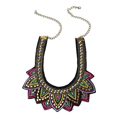 a18fe72f9cba Collar - TOOGOO(R)Mujer Retro Perlas Diamantes de imitacion Multicolor por  exagerada etico Diseno Collar de aleacion  Amazon.es  Joyería
