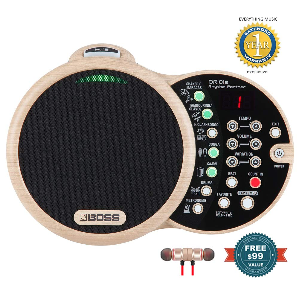 BOSS DR-01S Rhythm Partner Organic Groove Machine and Speaker Includes Microfiber and 1 Year Everything Music Extened Warranty by COR (Image #1)