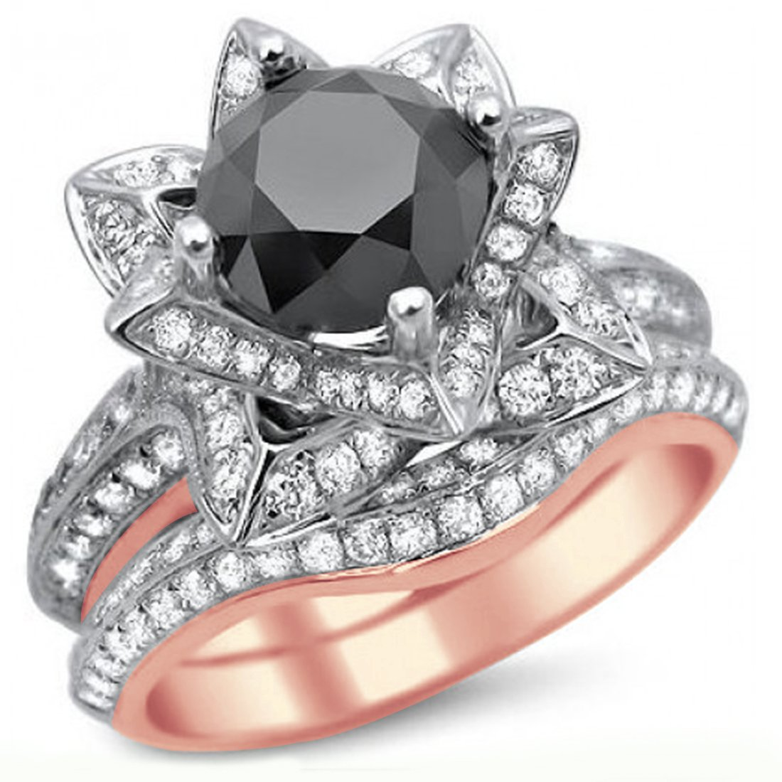 Smjewels 3.55 Ct Black Round Sim.Diamond Lotus Flower Engagement Ring Set In 14K Rose Gold Fn