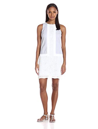 862fecd9e092 London Times Women s Sleeveless Round Neck Seersucker Shift Dress w. Lace  Trim