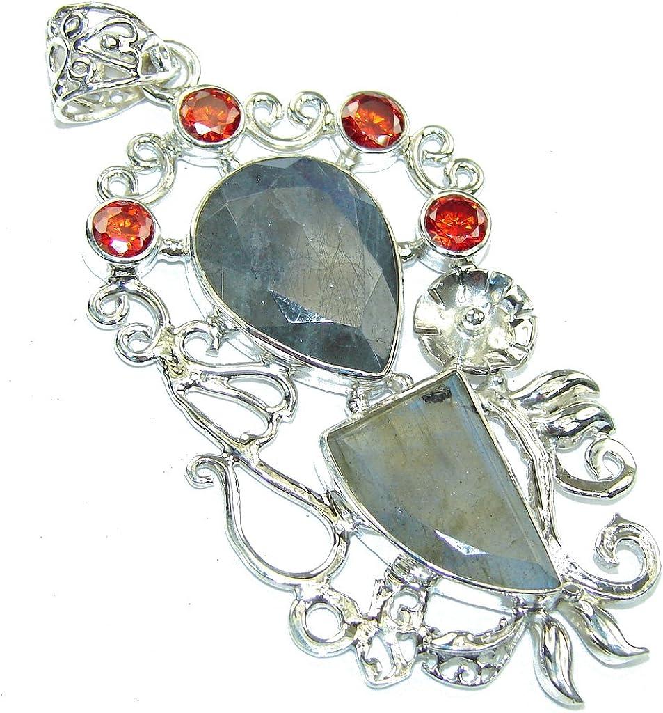 FREE GIFT BOX Labradorite Women 925 Sterling Silver Pendant