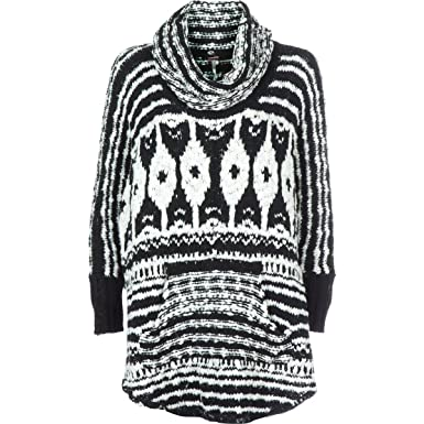 10cdd8dae9 Free People Women's Rosie Lee Poncho Sweater (M, Black White) at ...