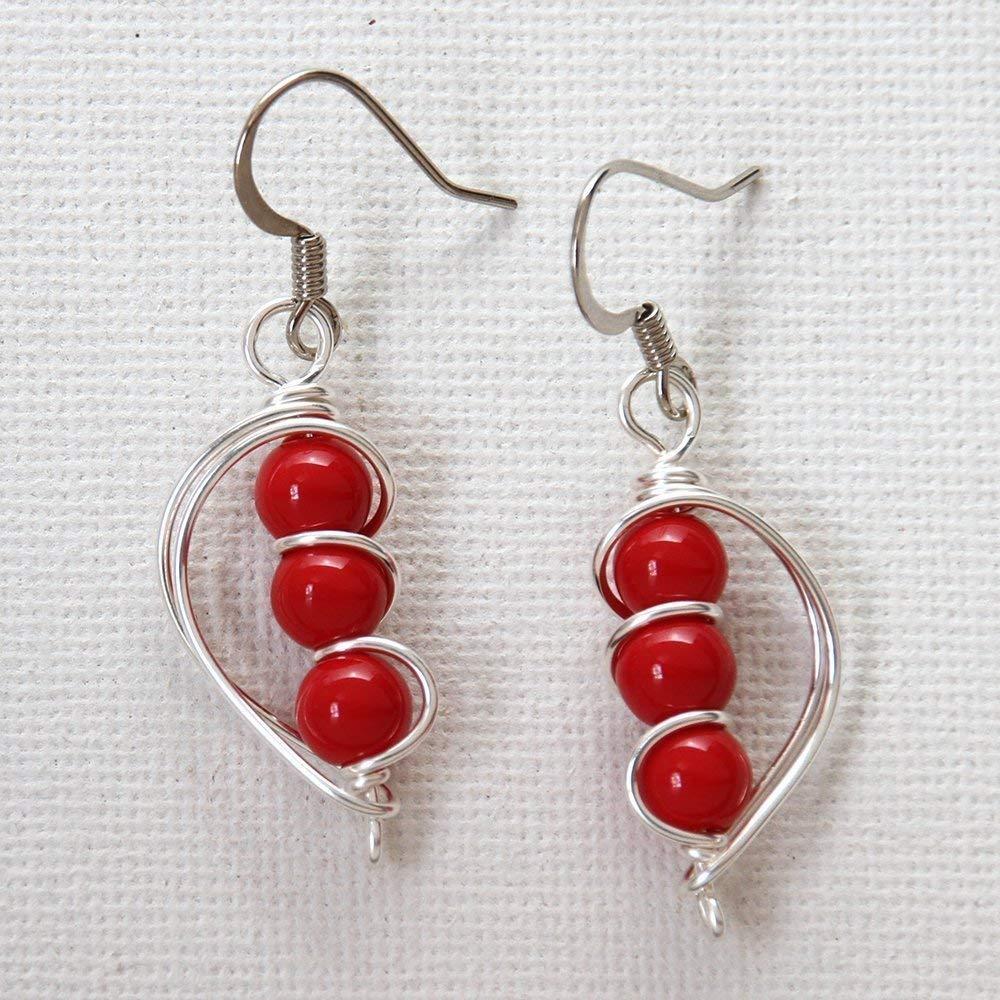 Handmade red earrings