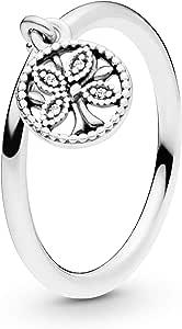 خاتم فضة للنساء مرصع بالزركونيا المكعبة من باندورا 197782CZ-54، مقاس 54 EU