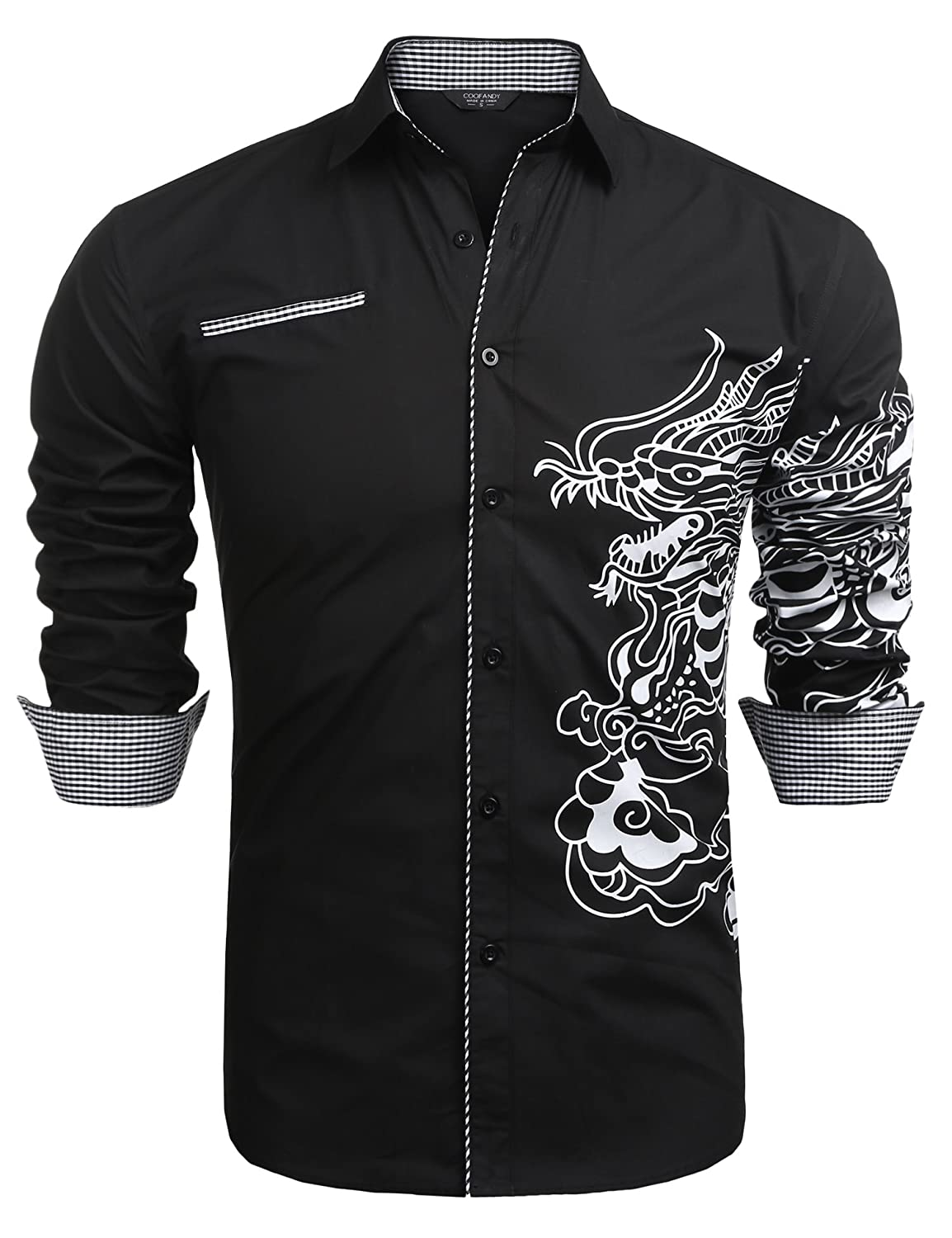 COOFANDY Men's Stylish Print Button Down Shirt Long Sleeve Casual Dress Shirt