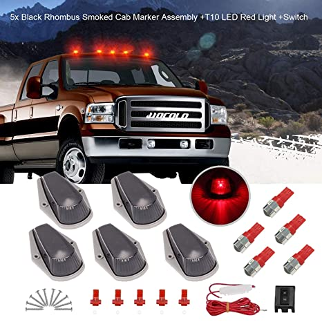 Cab Marker Roof Top Light Lens Covers Fit Ford F250-550 Super Duty 5PCS New Car