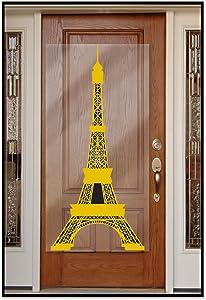 """Beistle 54727 Eiffel Tower Door Cover, 30"""" x 5', Gold/Black"""
