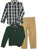 Nautica Baby Boys' Zip Sweater, Long Sleeve Shirt, and Twill Pant Set