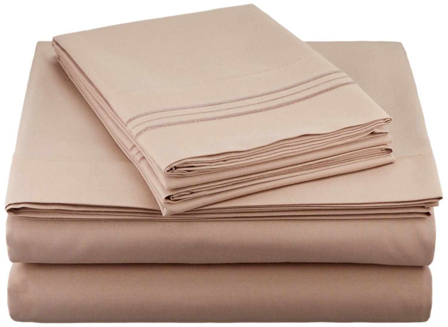 Clara Clark Premier 1800 Series 4pc Bed Sheet Set - Queen, Taupe Sand, Hypoallergenic, Deep Pocket
