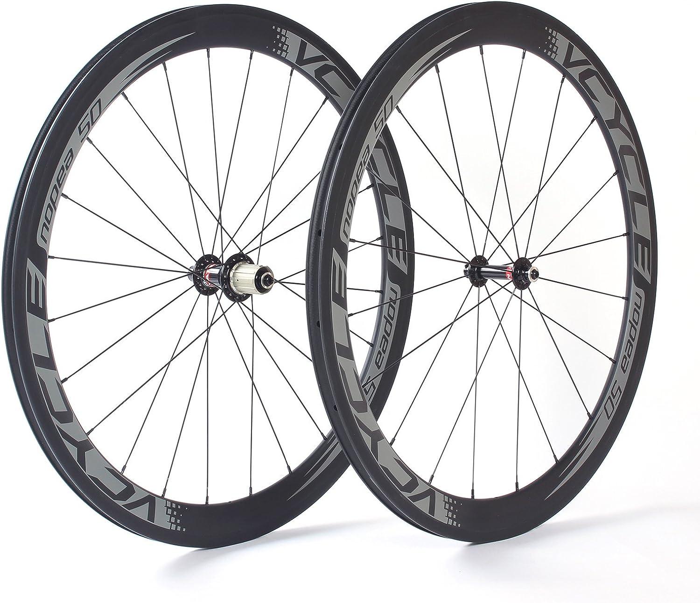 VCYCLE Nopea 700C Carbono Carretera Bicicleta Ruedas Tubular 50mm Ultra Luz Shimano o Sram 8/9/10/11 Velocidad: Amazon.es: Deportes y aire libre