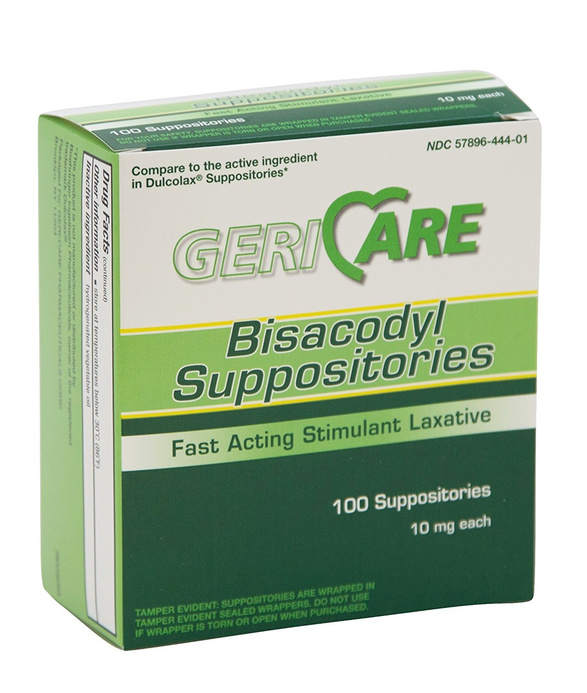GeriCare Bisacodyl (Dulcolax) Suppositories, 10 mg (Box of 100)