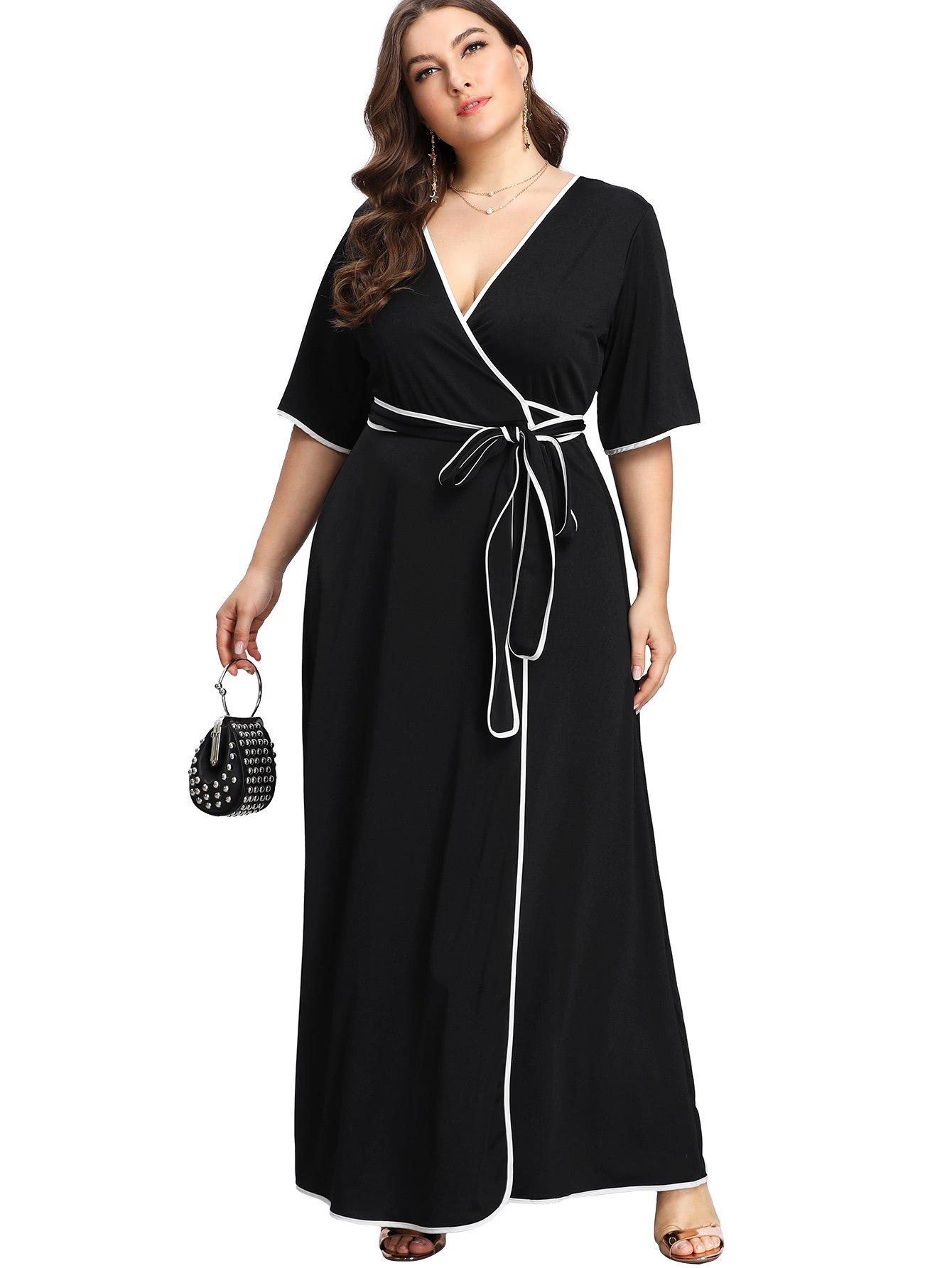 Romwe Women\'s Cute Plus Size Contrast Binding Belted Wrap V Neck Maxi Dress  Black 0XL