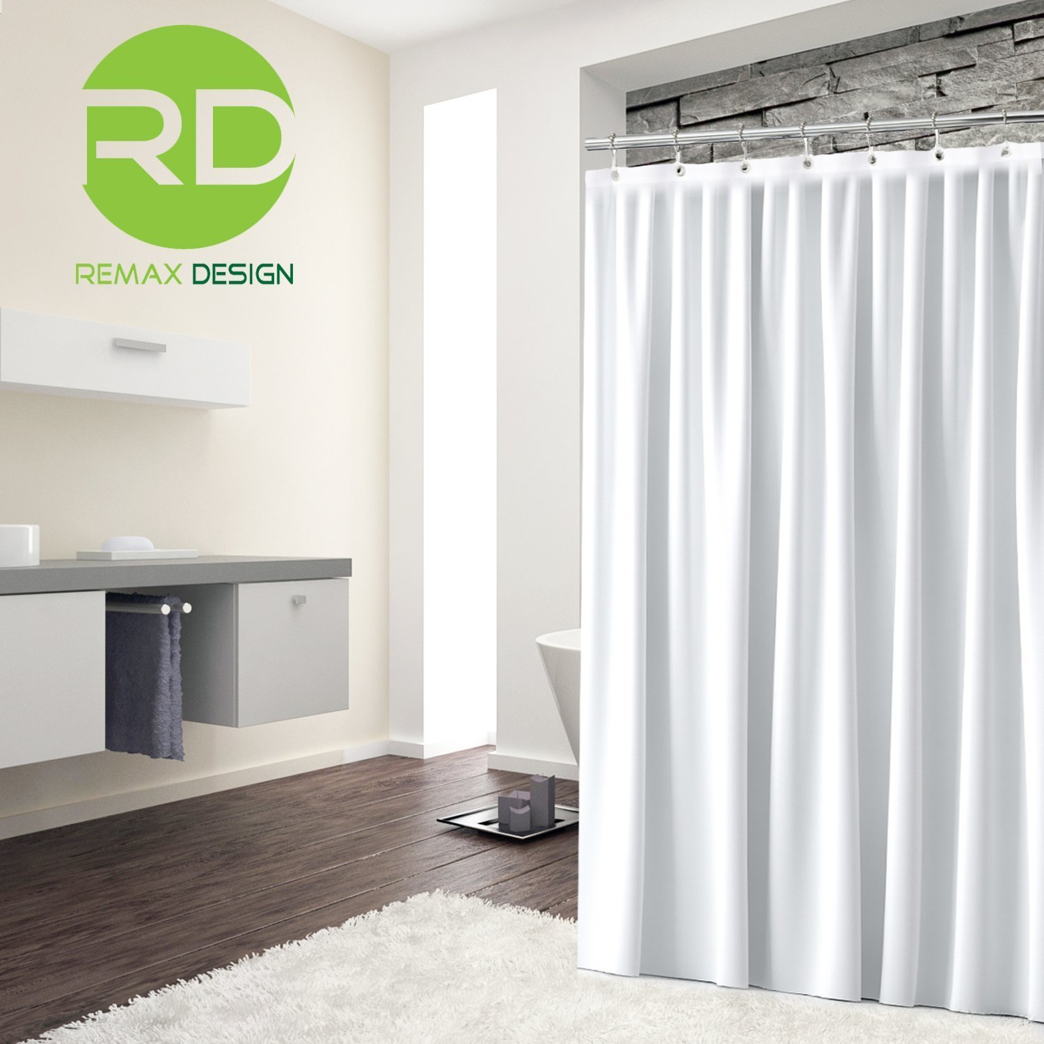 Curtains with hooks on the back 187 home design 2017 - Amazon Com Mildew Resistant Fabric Shower Curtain 72x72 White Polyester Curtain For Bathroom Waterproof Odorless Eco Friendly Anti Bacterial Heavy
