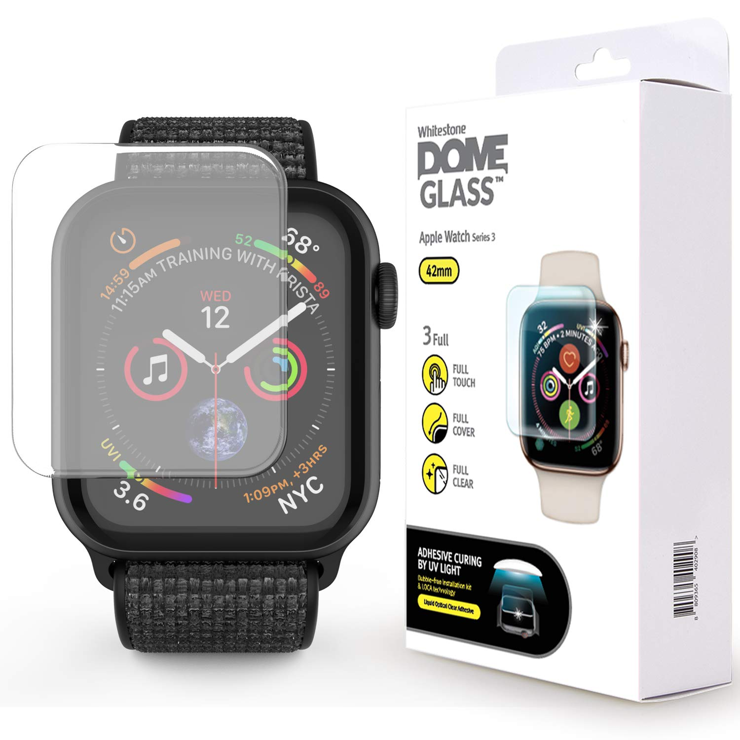 Apple Watch 42mm Screen Protector, [DOME GLASS] Liquid Adhesive for Full Coverage Tempered Glass [NO UV Light Included] and Protection by Whitestone for The Apple Watch 3 - Replacement Kit ONLY