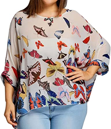 FAMILIZO Camisetas Mujer Tallas Grandes XL~4XL Camisetas Mujer ...