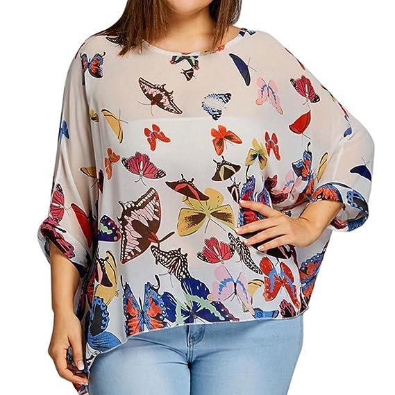 FAMILIZO Camisetas Mujer Tallas Grandes XL~4XL Camisetas Mujer Verano Blusa Mujer Elegante Camisetas Basicas