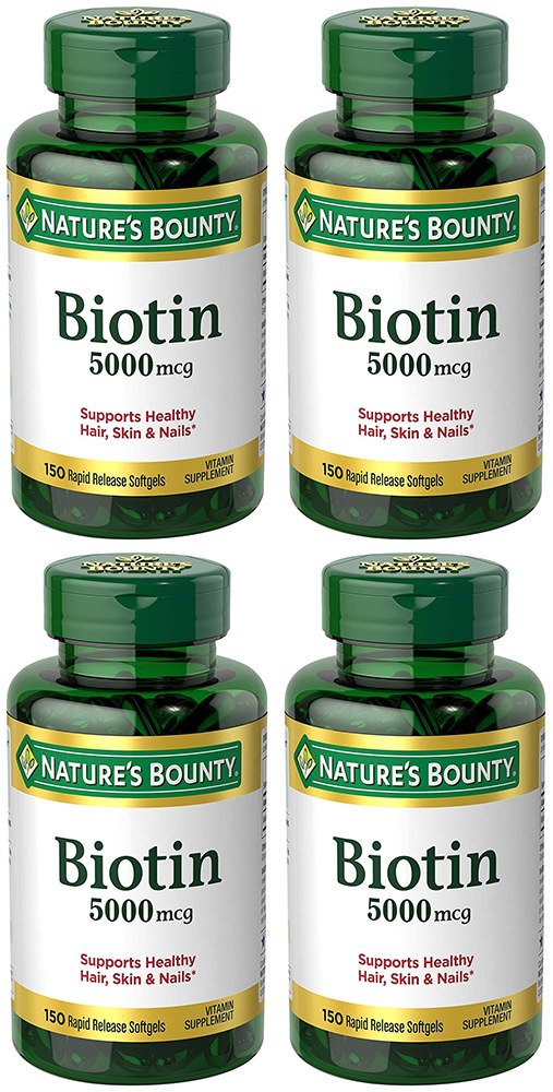 Biotin 5000 mcg, 150 Rapid Release Softgels (4 Bottles)