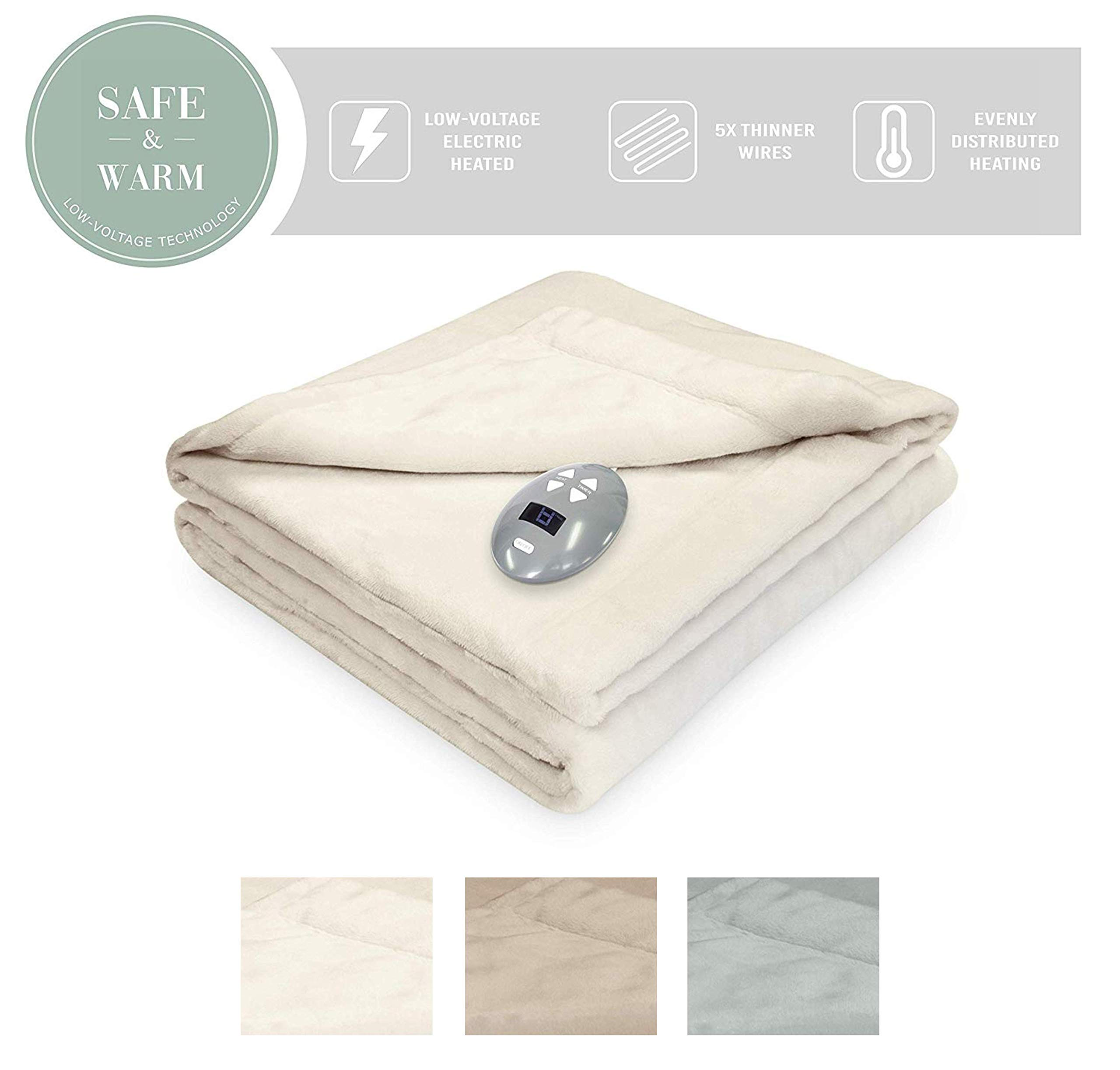 SoftHeat by Perfect Fit | Luxurious Velvet Plush Heated Electric Warming Blanket with Safe & Warm Low-Voltage Technology (Full, Natural Vanilla)