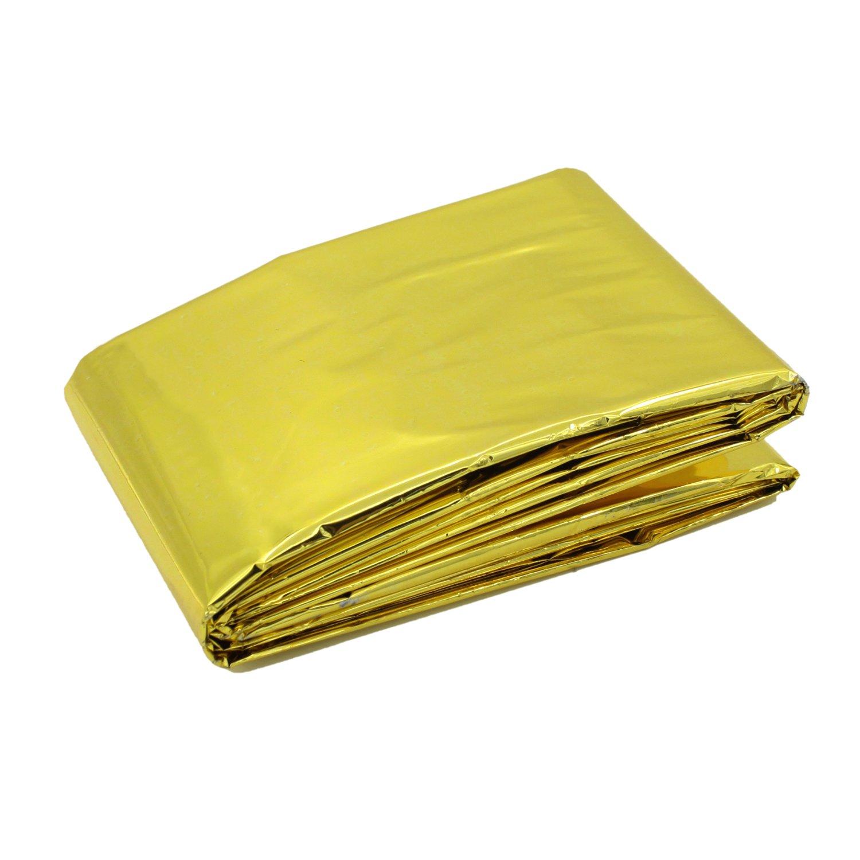 Waterproof Emergency Thermal Blankets Survival (Gold) Bluelans