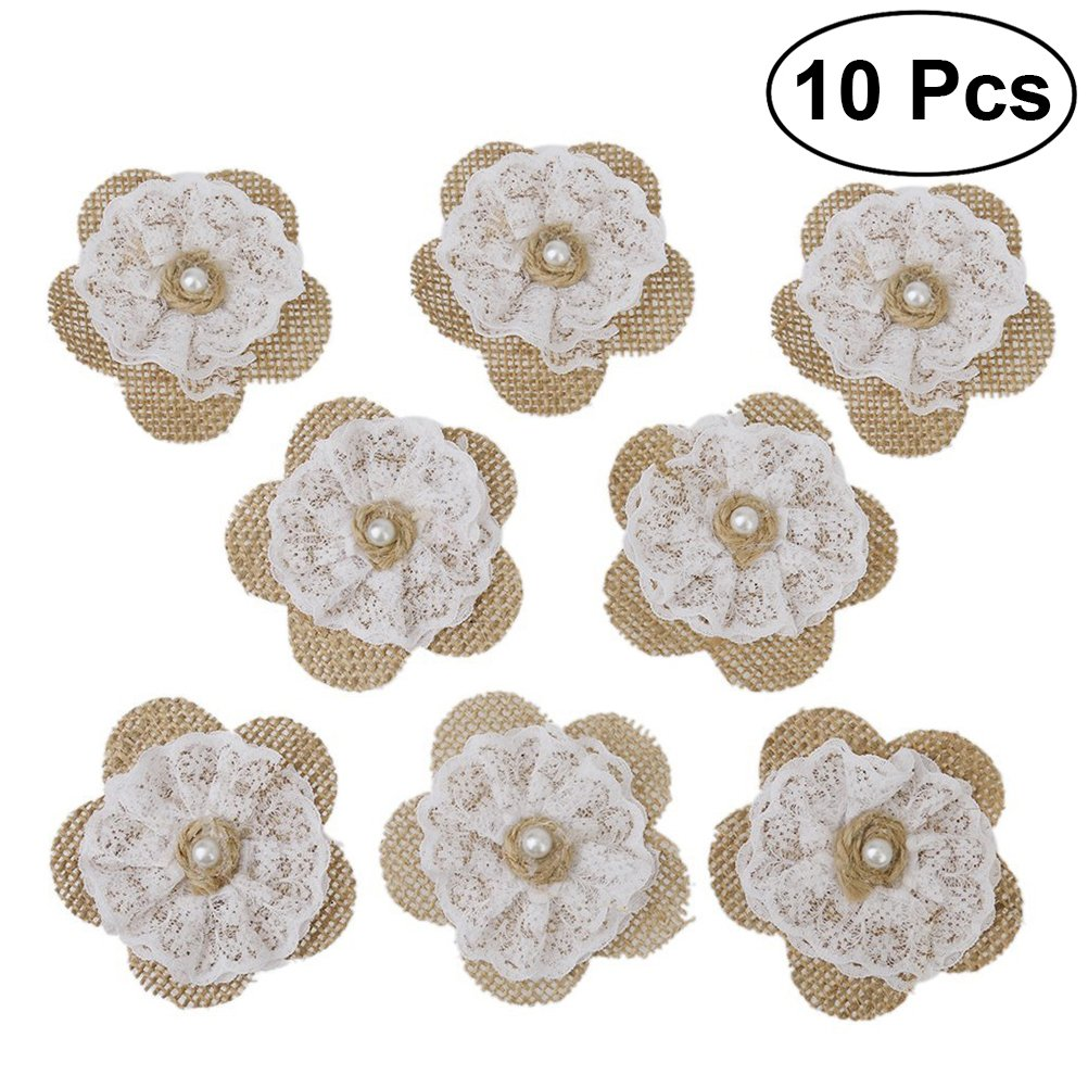 OULII 10pcs Burlap Lace Flowers with Pearl for DIY Craft Making Wedding Party Decorations