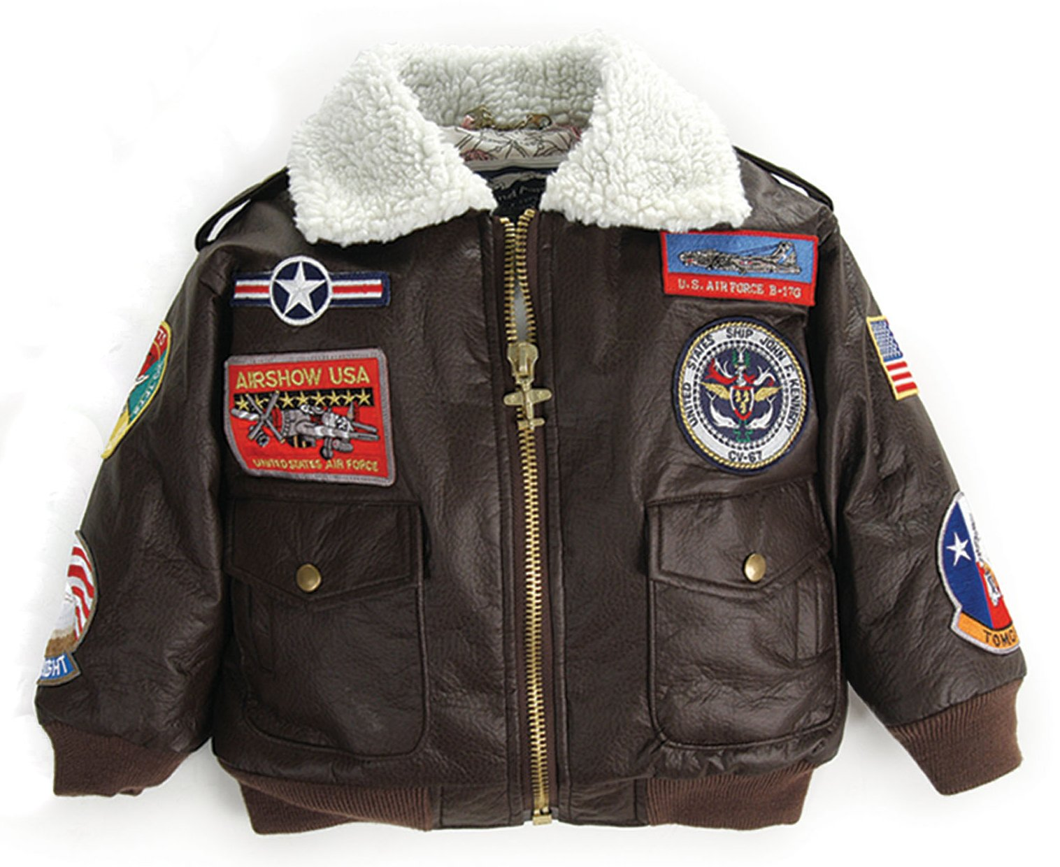 Up and Away Boys' A-2 Bomber Jacket 24 Months Brown by Up and Away