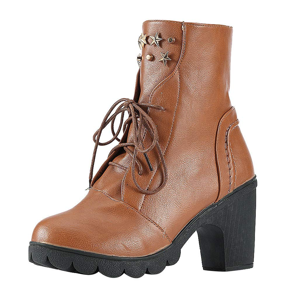 Women Lace Up High Chunky Heel Ankle Boots Mid Calf Vintage Combat Leather Booties Military Riding Boots (US:7.5(38), Brown)