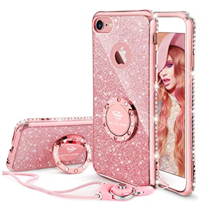 Iphone 6s Plus Case Glitter Cute Phone Case Girls With Kickstand Bling Diamond Rhinestone Bumper Ring Stand Thin Soft Protective Pink Apple Iphone 6