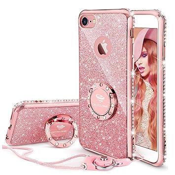 OCYCLONE Fundas Carcasa para iPhone 6,Fundas iPhone 6s Rosa,Ultra Slim Soft TPU Purpurina Diamantes Glitter Fundas Carcasa con Anillo Protectora ...