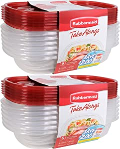 Rubbermaid Take Alongs Food Storage Container, 4-Cup Rectangle, Set of 12, (12 Pack), Red