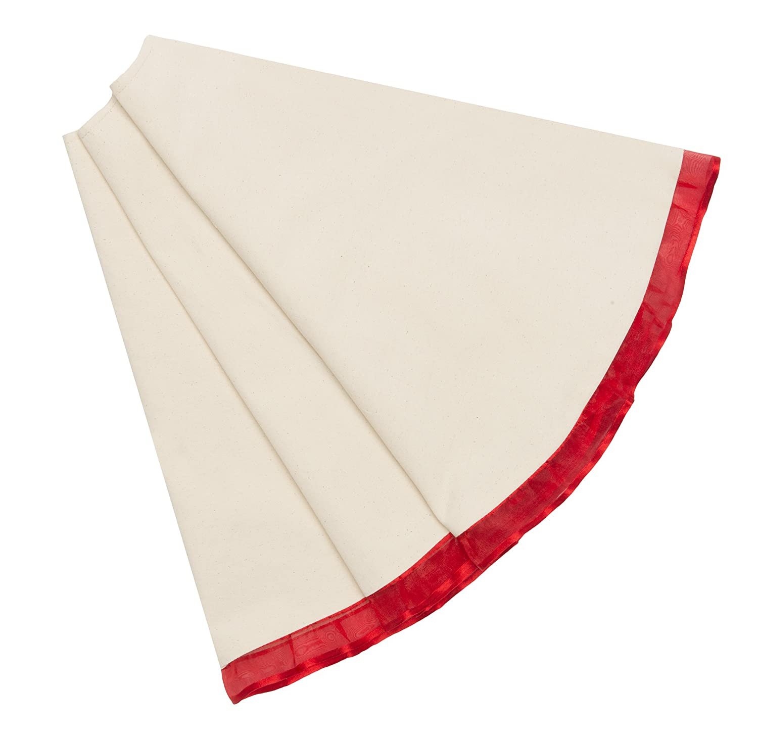 Mistletoe Mill 48 inch Cream Cotton Christmas Tree Skirt with Red Ribbon Trim