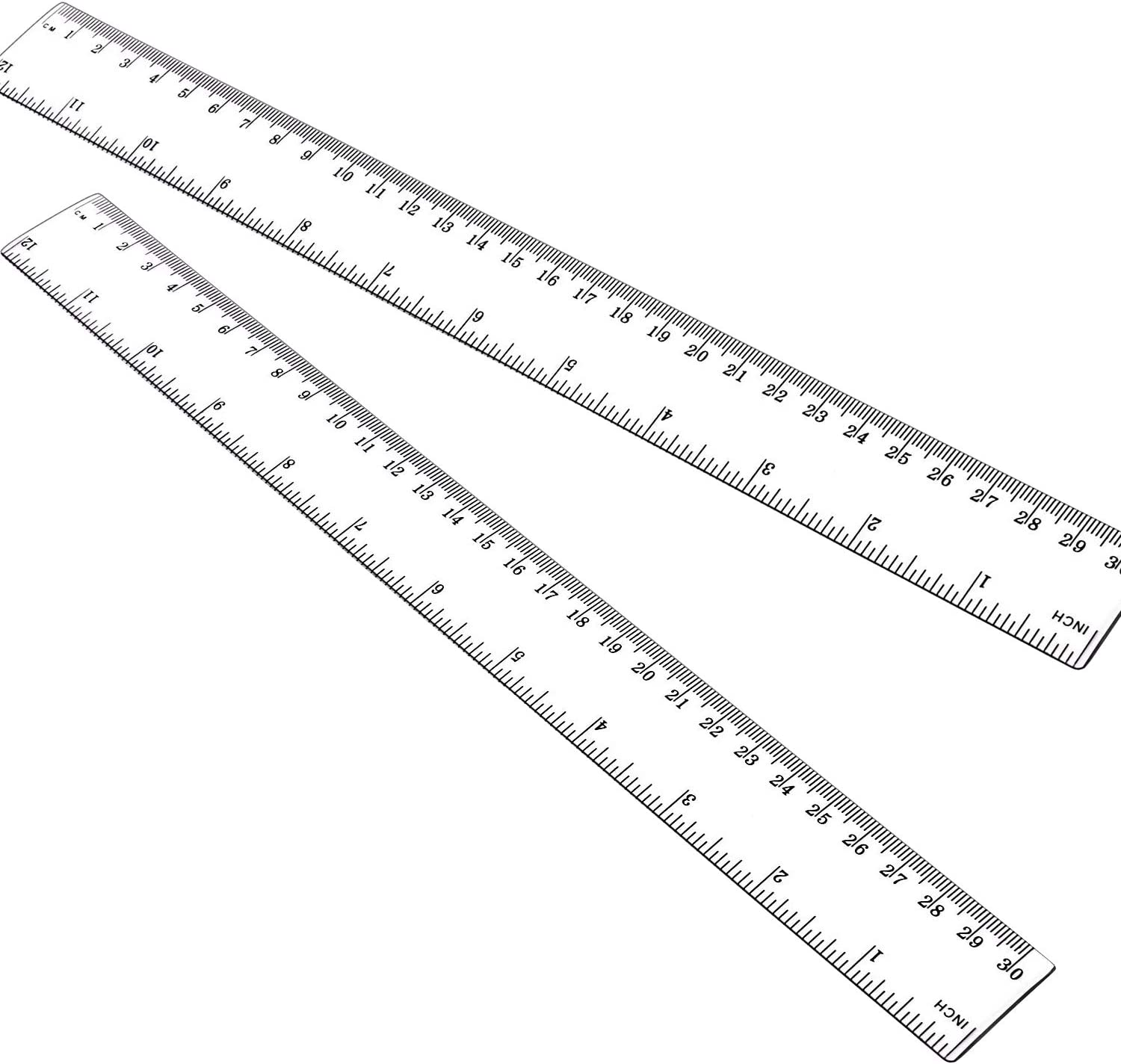 12 Inch Ruler, 2PCS Straight Ruler, 30CM Ruler with Centimeters and Inches, Plastic Measuring Tools, Clear